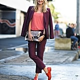 The bold color contrasts — right down to her toes — caught our eye in this look. Source: Le 21ème   Adam Katz Sinding