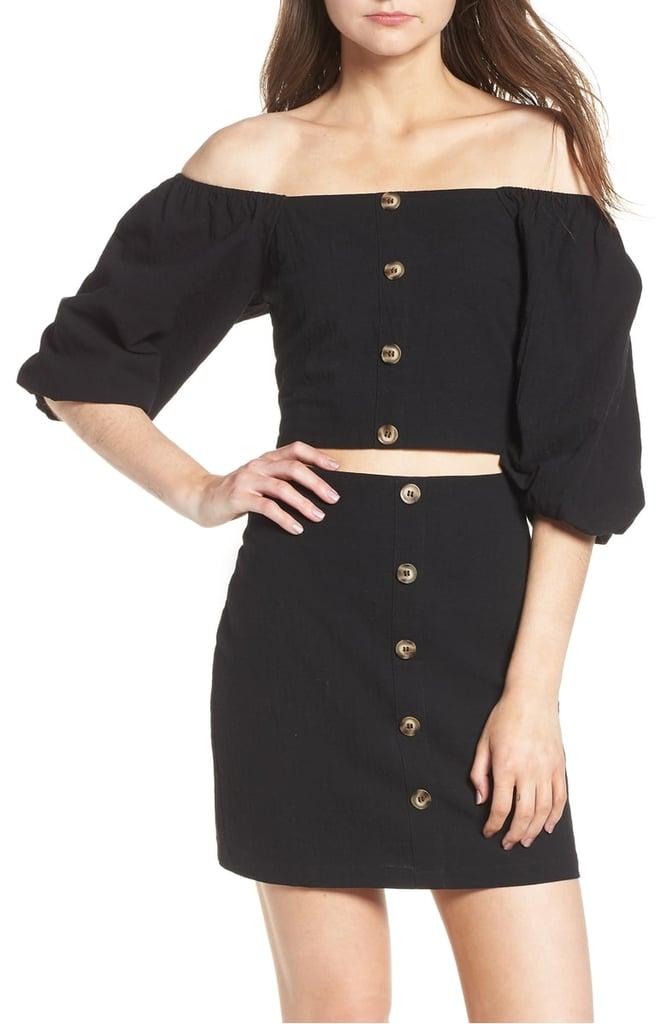 Black Off-the-Shoulder Top and Miniskirt