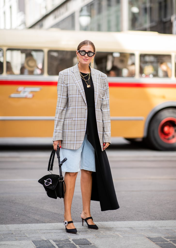 Ground a floaty top and shorts with a plaid blazer for Fall.