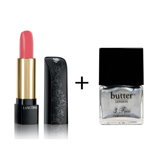 If you're looking for something slightly more soft but still party-ready, try baby pink lips and silver nails. Lancôme L'Absolu Rouge Nu Lipstick in Rose Petal ($49), Butter London Nail Polish in Diamond Geezer ($22) Lancôme stockists: 1300 651 991