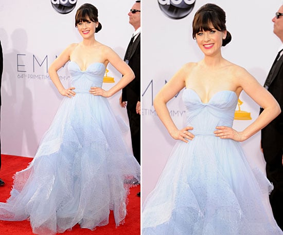 Zooey deschanel at the emmys 2012 popsugar fashion for Zooey deschanel wedding dress