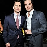 Matt Bomer and Chris Pine made one good-looking duo at the pre-Oscars party hosted by Roberta Armani and Cate Blanchett.