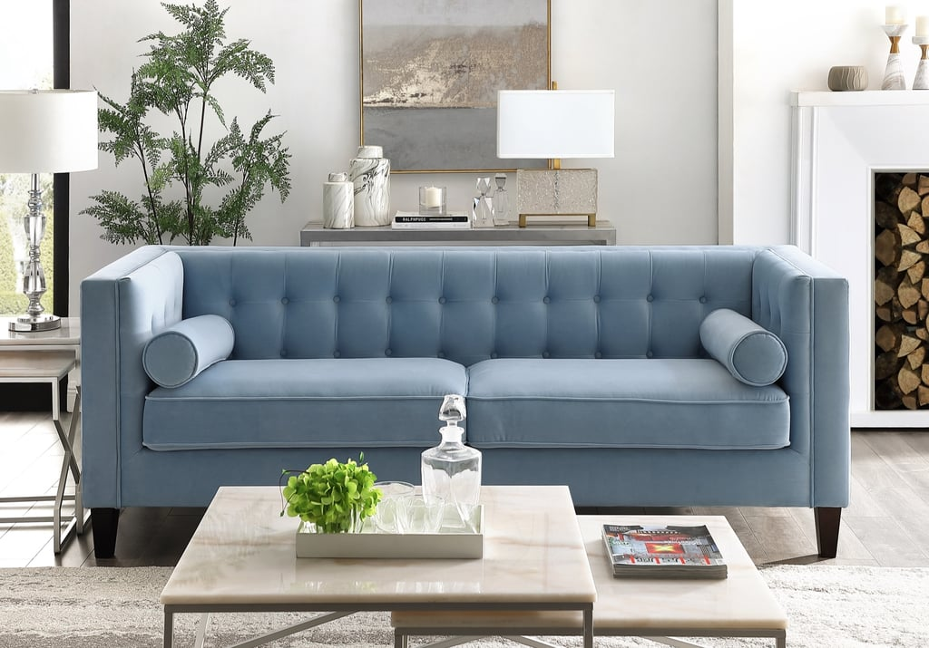 Rin Slate Blue Velvet Sofa Best Velvet Couches From Walmart