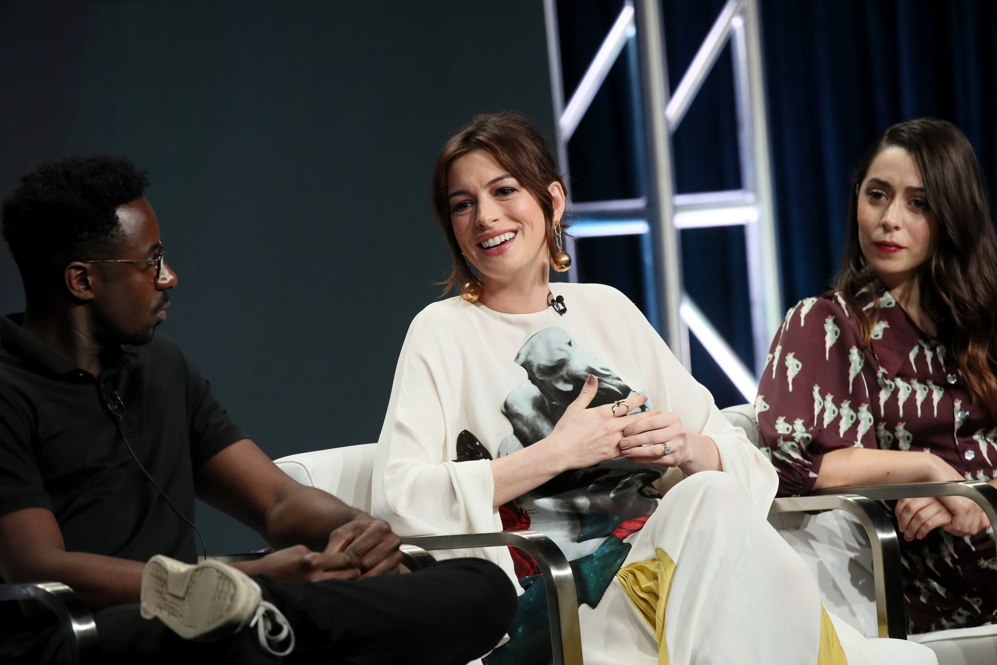 BEVERLY HILLS, CALIFORNIA - JULY 27: (L-R) Gary Carr, Anne Hathaway and Cristin Milioti of 'Modern Love' speak onstage during the Amazon Prime Video segment of the Summer 2019 Television Critics Association Press Tour at The Beverly Hilton Hotel on on July 27, 2019 in Beverly Hills, California. (Photo by David Livingston/Getty Images)