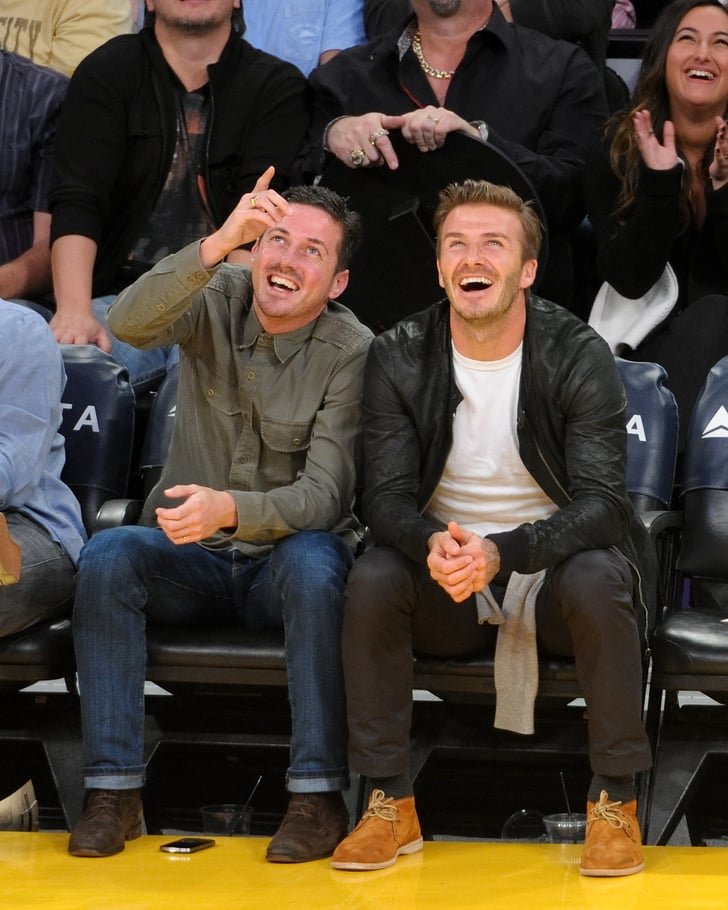 David Beckham watched the Lakers game with a friend.
