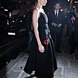 Gigi Hadid Black Prada Dress With Gigi Patch
