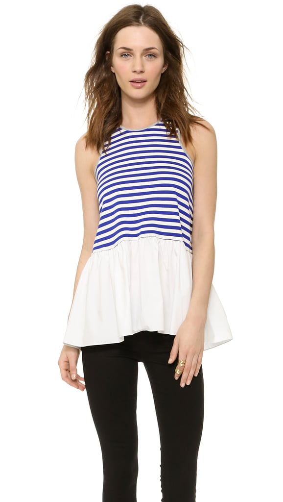 Tibi Striped Racer Back Top