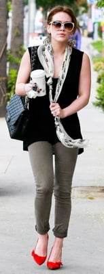 Hilary Duff Wears an Alexander McQueen Scarf and Isabel Marant Pumps