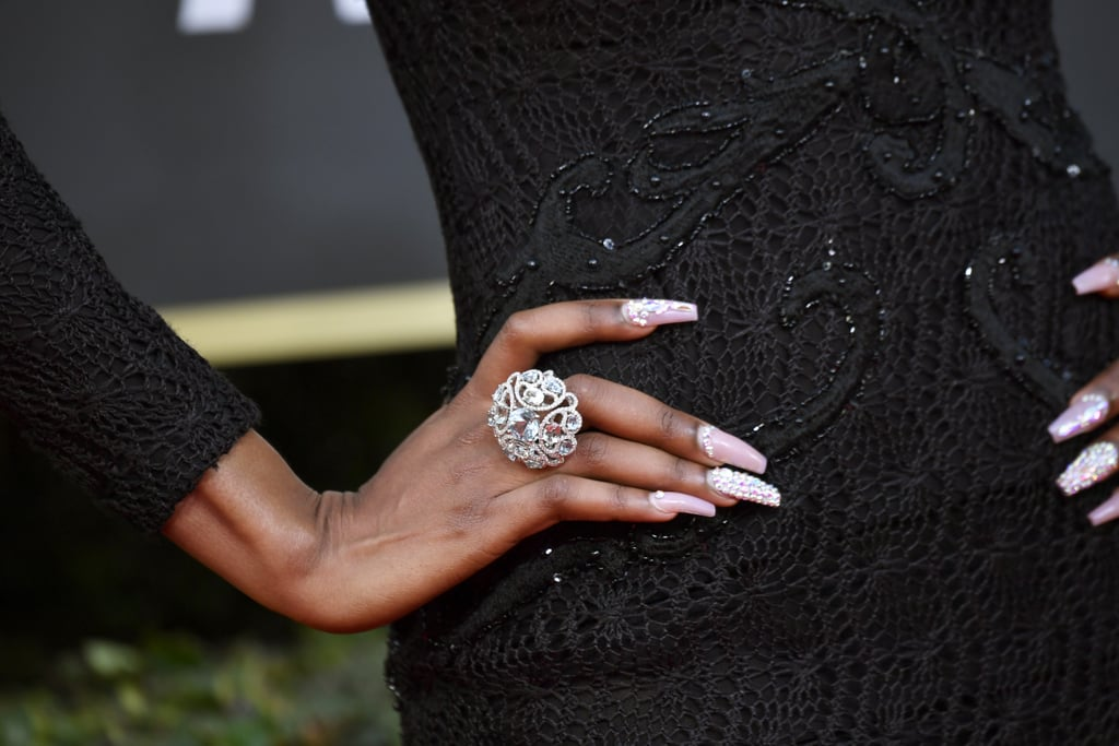 Lala Milan's Crystal Nails at the 2020 Golden Globes
