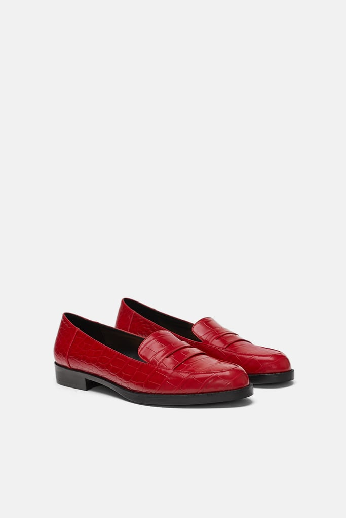 a55183183c2 Zara Faux Crocodile Loafers