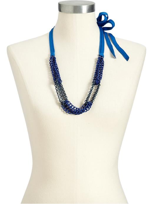 Nautical blues, no matter what shape they take, are a perfect accent for a crisp wardrobe. Old Navy Women's Multi-Chain Cord Necklace ($15)