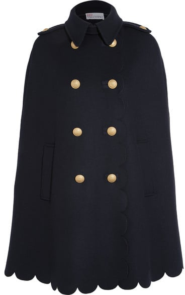 Red Valentino Scalloped Double-Breasted Wool-Blend Felt Cape ($1,100)