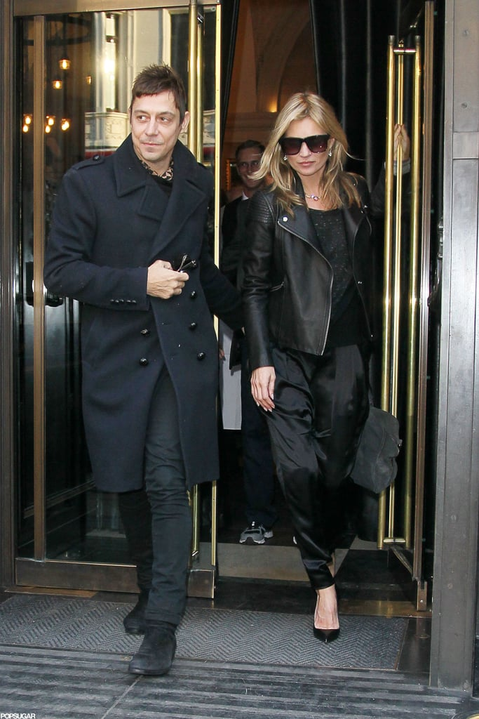 Jamie Hince led Kate Moss out of the restaurant.