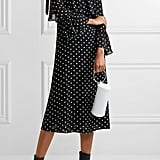 Ganni Monette Cold-Shoulder Polka-Dot Georgette Dress, $239.41
