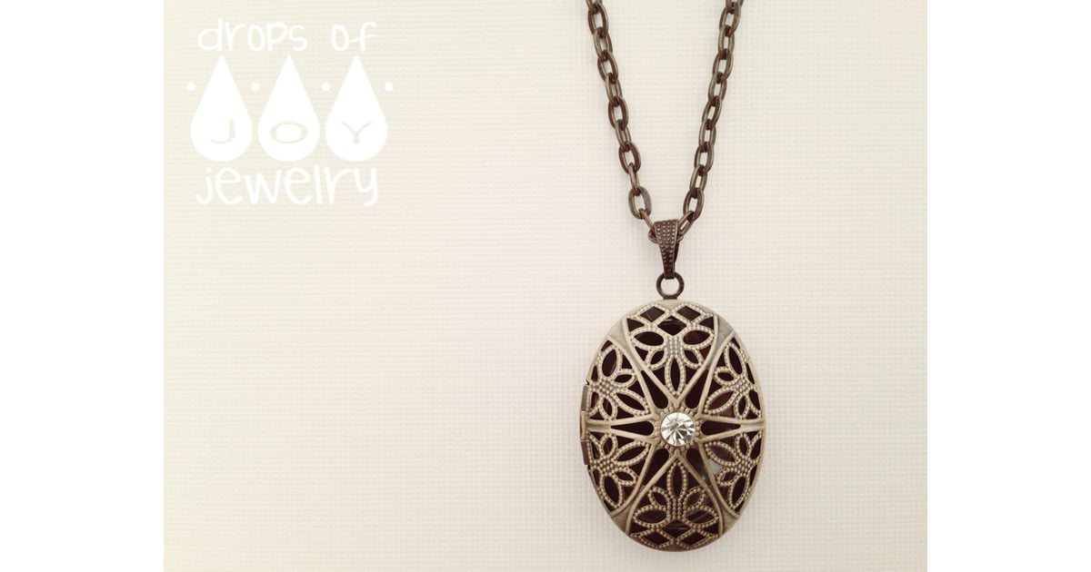 Drops of jewelry bronze plated filigree necklace scented for How to make scented jewelry