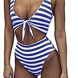 Faaaashion High-Waist Striped Swimsuit