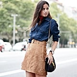 Denim Top and Suede Skirt