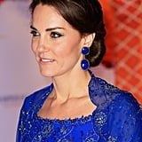 Next up were these heavy hitters, worn to a Bollywood gala. Kate accessorized her electric blue Jenny Packham gown with the lapis lazuli Amrapali earrings, which cost $3,500.