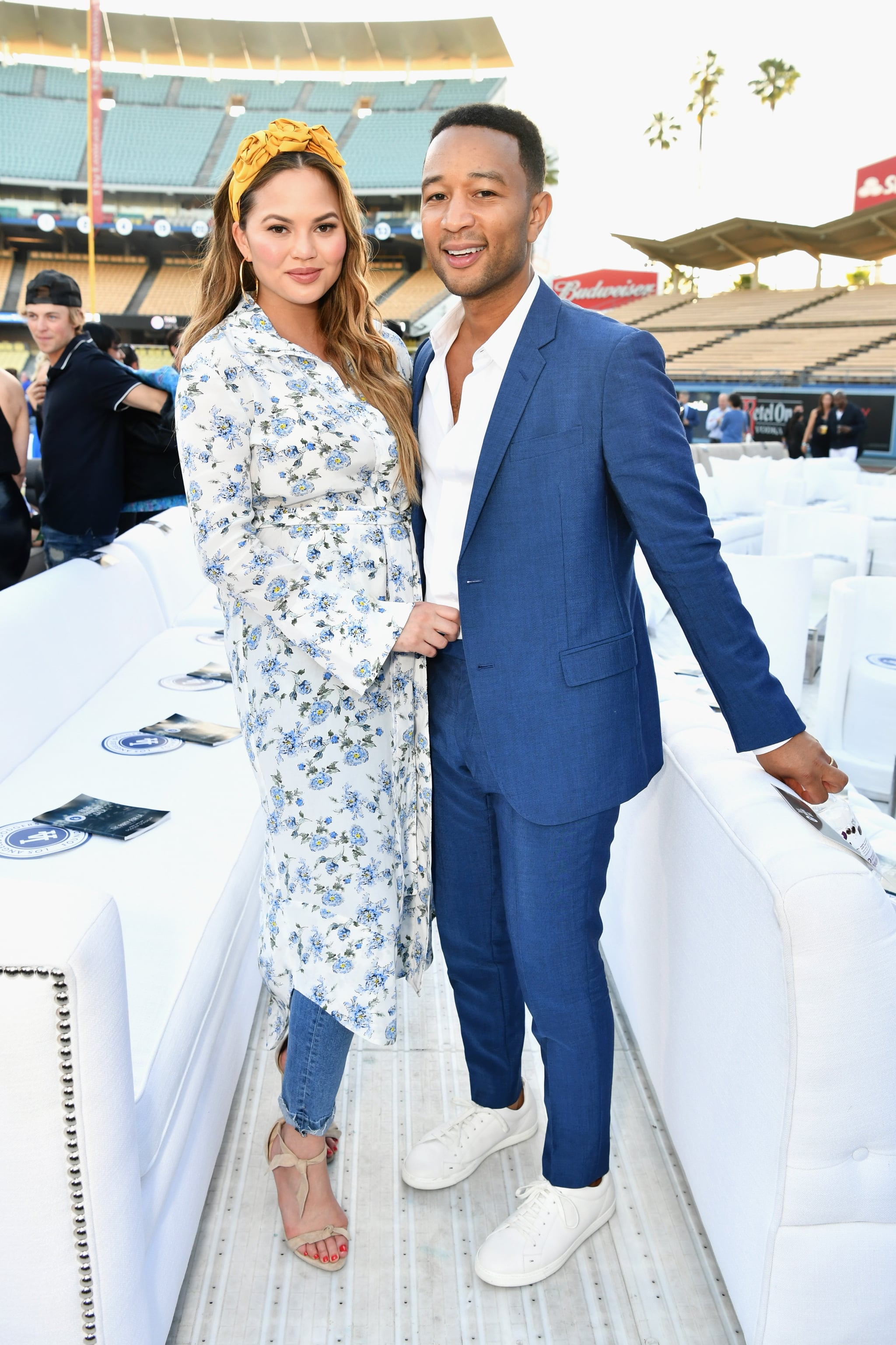 LOS ANGELES, CA - JUNE 11:  Chrissy Teigen and John Legend attend the Fourth Annual Los Angeles Dodgers Foundation Blue Diamond Gala at Dodger Stadium on June 11, 2018 in Los Angeles, California.  (Photo by Emma McIntyre/Getty Images for Los Angeles Dodgers Foundation )