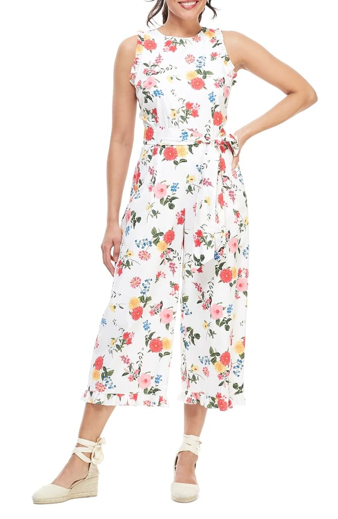 Gal Meets Glam Collection Beverly Ruffle Racerback Cotton Jumpsuit