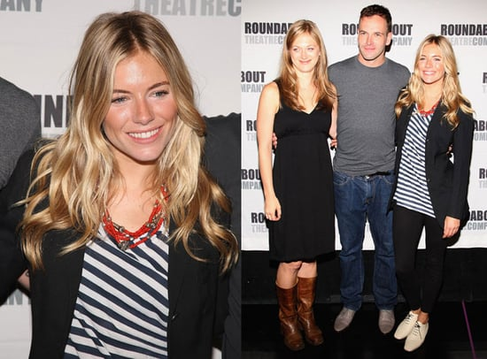 Sienna Miller Wears Striped Tank and Ivory Oxfords to Broadway 2009-09-08 11:00:22