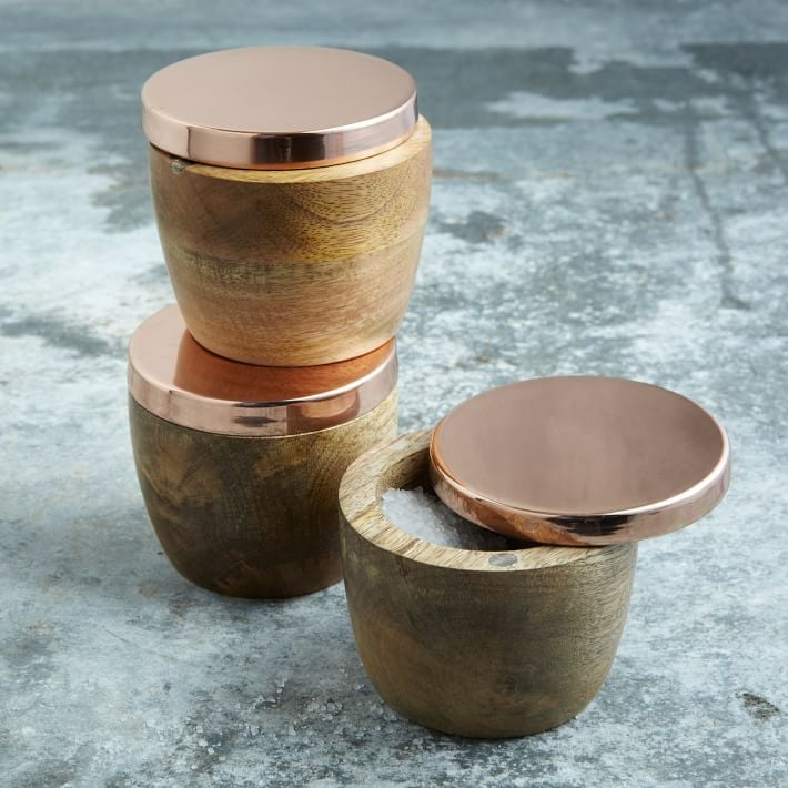 West Elm Wood And Copper Salt Cellar Best Gifts 2017