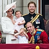 Pictured: Kate Middleton, Princess Charlotte, Prince George, Prince William, Prince Harry.