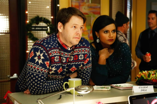 "The Mindy Project Mindy (Mindy Kaling) and Morgan (Ike Barinholtz) in the holiday-themed episode ""Christmas Party Sex Trap,"" airing Dec. 3."