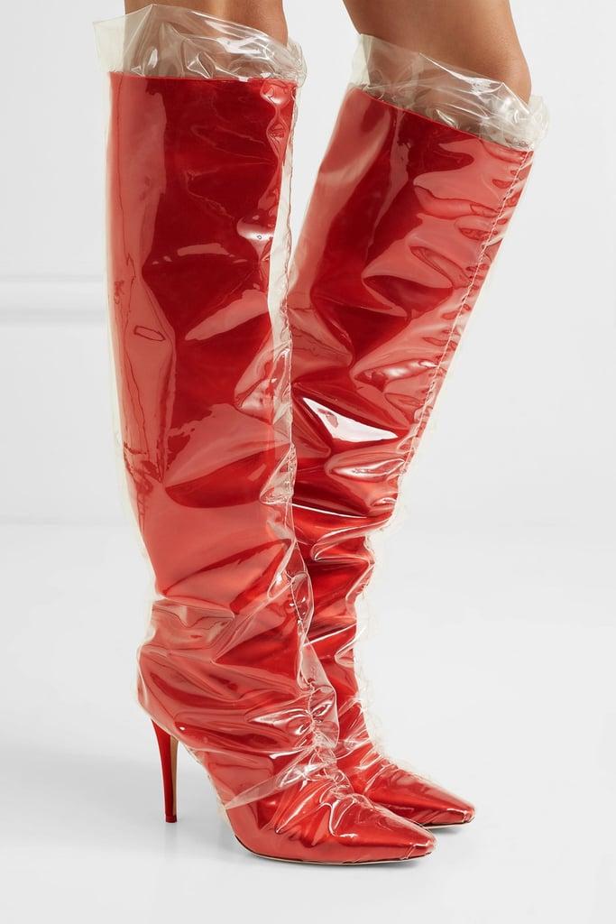 7700eb16b584 Lady Gaga s Red Thigh-High Boots
