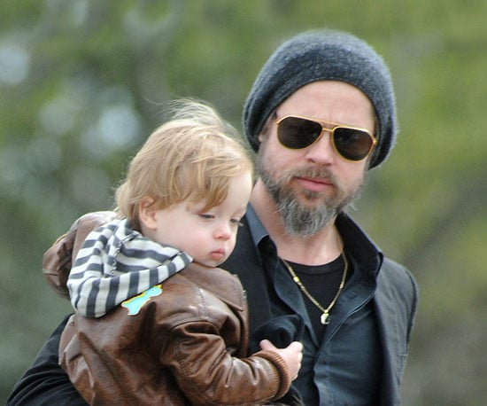 Slide Photo of Brad Pitt and Knox Jolie-Pitt in Italy
