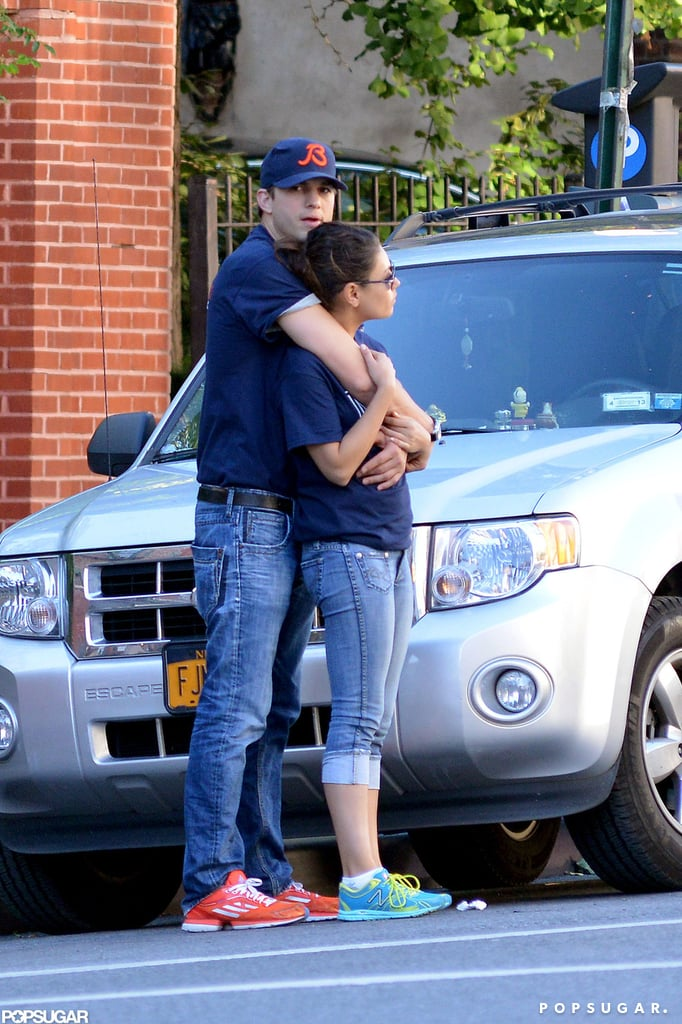 Ashton Kutcher and Mila Kunis were spotted in NYC's West Village yesterday sharing a hug. The pair stepped out in matching Chicago Bears t-shirts, supporting Ashton's favorite NFL team, and later grabbed some gelato on their way home. Looks like their matching t-shirts were good luck for the Bears since they went on to beat the Rams 23-6. Ashton and Mila's weekend was full of PDA moments. In addition to sharing casual embraces all around town, they were also reportedly very cuddly while dining at The Lion on Friday night. Mila's been on the East Coast filming The Angriest Man in Brooklyn, while Ashton's enjoying a break from Two and a Half Men. He skipped out on last night's Emmy Awards; however, his costar Jon Cryer took home the win for outstanding lead actor in a comedy series.