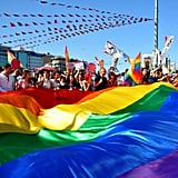 Activists for gay and human rights carried rainbow flags through the streets of Istanbul, Turkey, during an antigovernment protest.