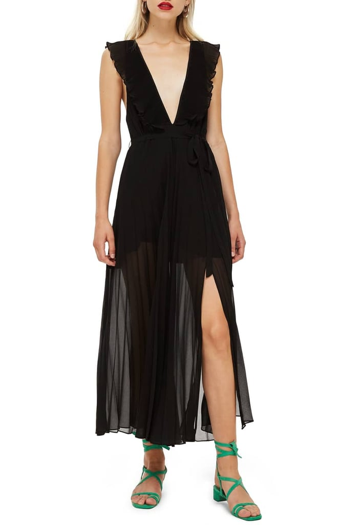 Topshop Pleated Plunge Chiffon Maxi Dress