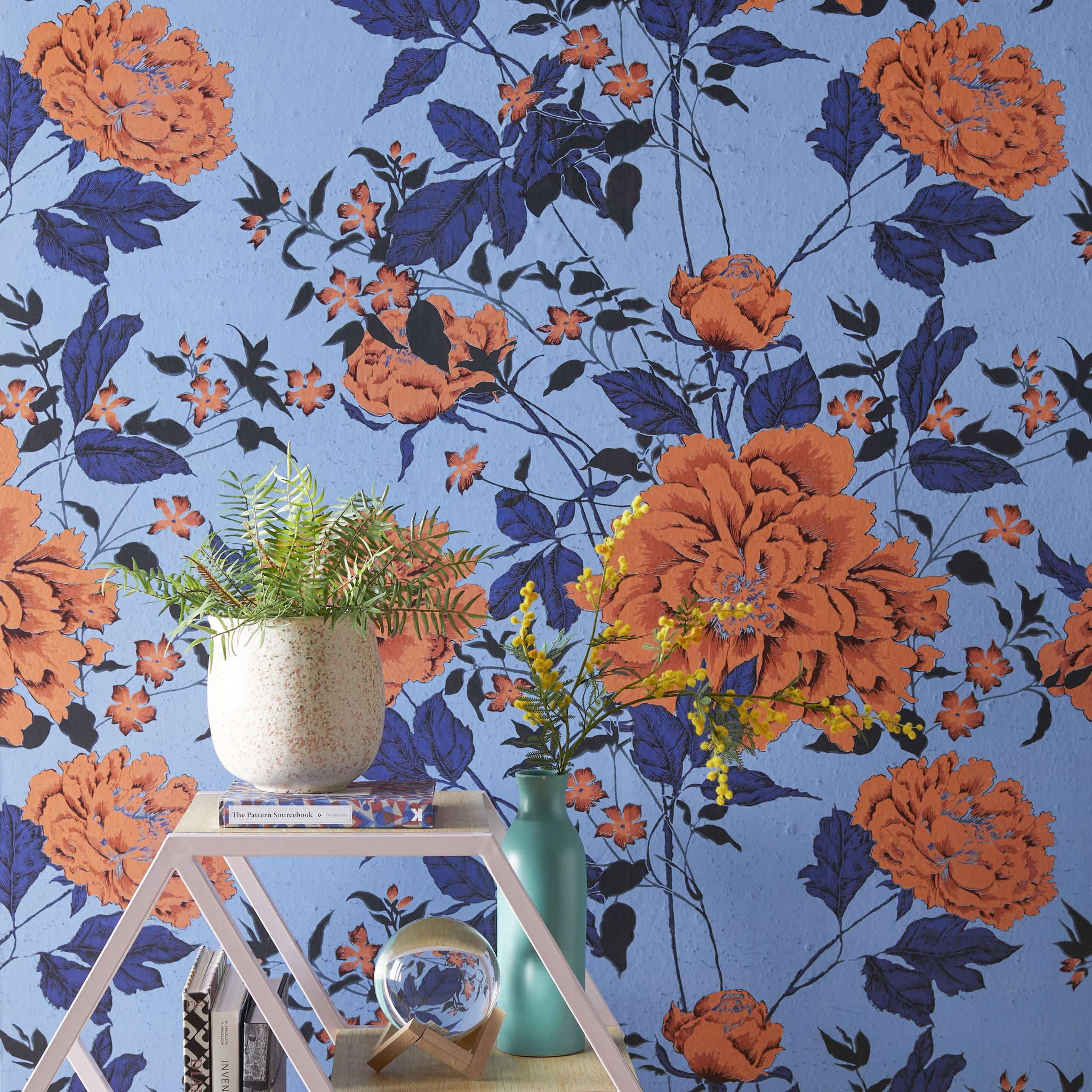 Orange And Blue Vintage Floral Peel And Stick Wallpaper Drew