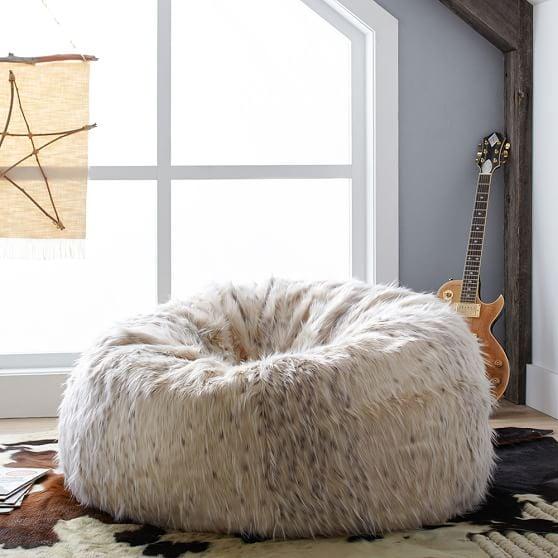 Snow Cat Faux-Fur Beanbag