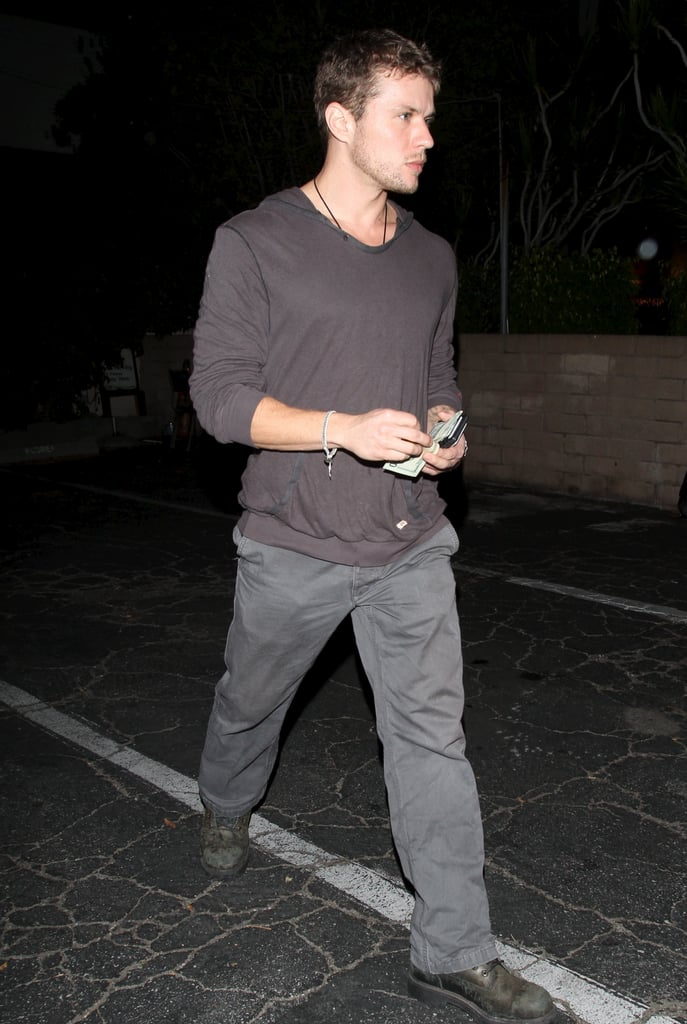 Ryan Phillippe picked up his car from the valet at Matsuhisa on Tuesday night after grabbing sushi with friends in LA. He's hanging on the West Coast while production on his latest film, Setup, is under way in Michigan. His costar 50 Cent has been causing lots of buzz away from the set, due to his budding romance with Chelsea Handler and the release of even more intimate photos.