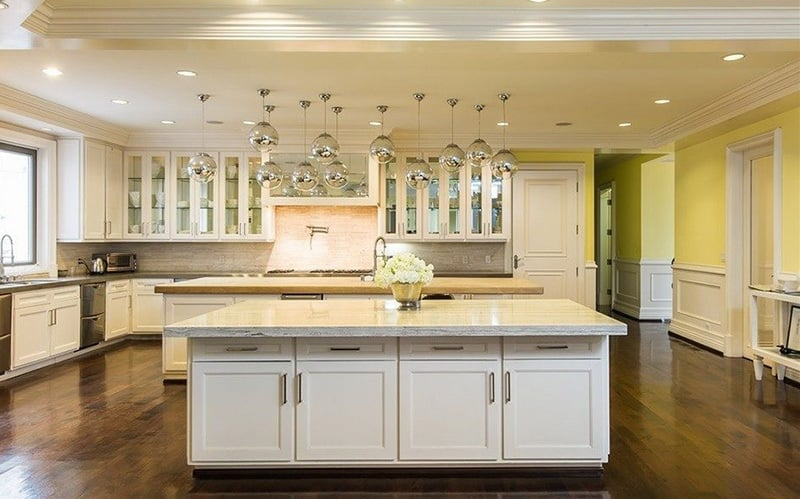 There's no lack of counter space in this massive state-of-the-art kitchen.