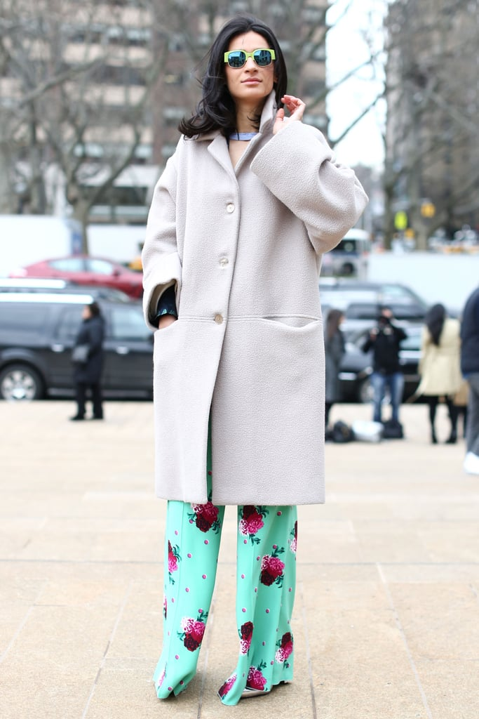Oversize outerwear warmed up a pair of floaty, printed trousers.
