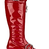 Miu Miu Red Patent Leather Zipper Knee Boots