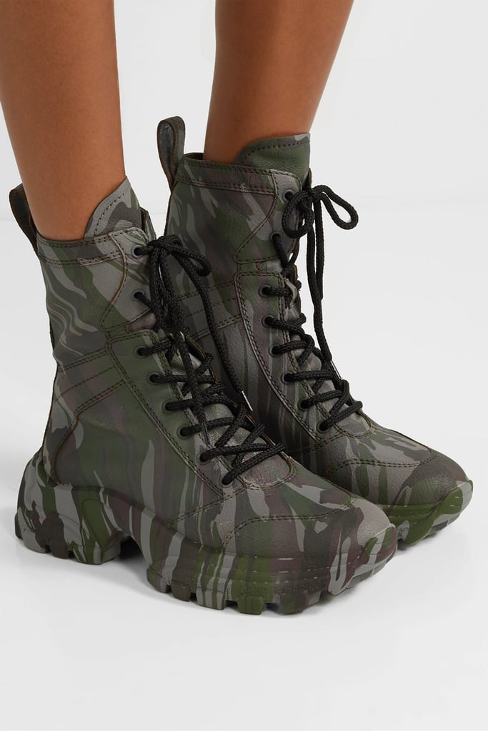 Miu Miu Camouflage Print Textured Leather Ankle Boots