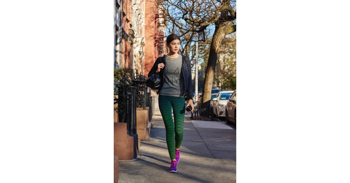 athleisure sporty think leggings and sneakers but