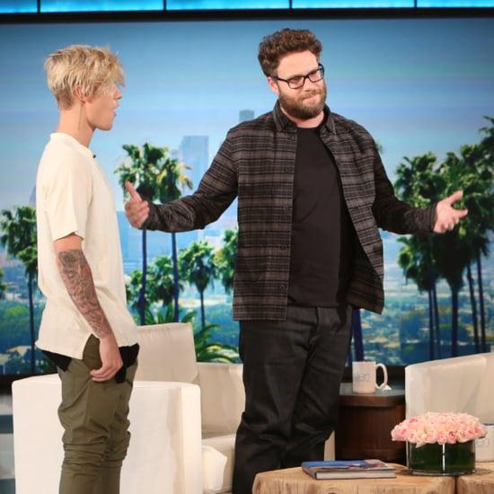 Seth Rogen and Justin Bieber on Ellen November 2015