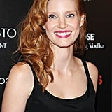 Jessica Chastain wore pink lips for the screening of Lawless in NYC.