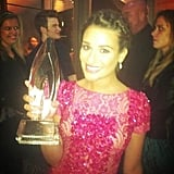 Lea Michele posed with her People's Choice Award. Source: Twitter user msleamichele