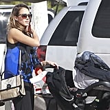 Jessica Alba dressed in bright blues for her New Year's vacation.