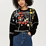 Topshop Embroidered Check Jumper