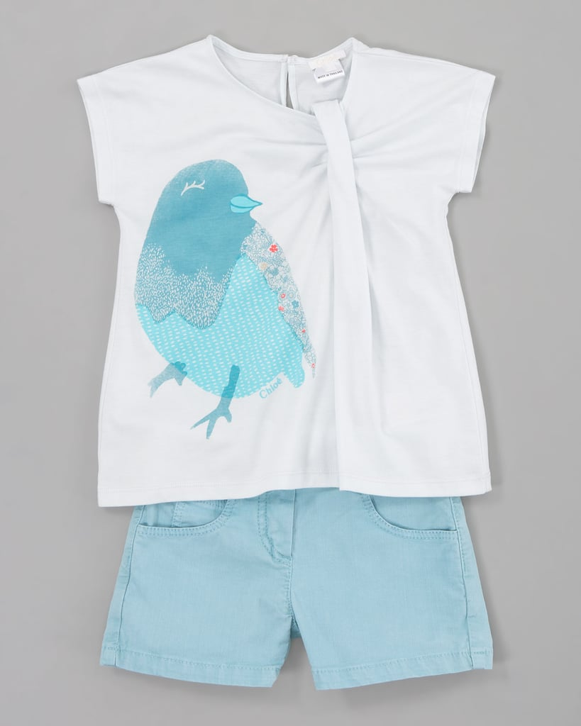 Chloe Bird Pleated Jersey Tee