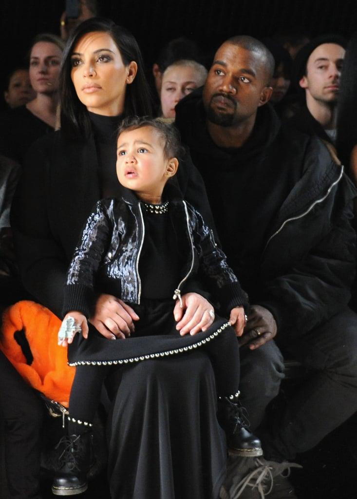 Kim Kardashian, North West, and Kanye West at NYFW
