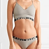 A sporty lingerie set from Calvin Klein Underwear ($55) with the signature logo.