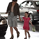 Katie Holmes and Suri Cruise strolled hand in hand.